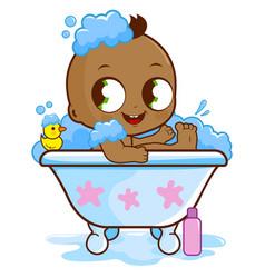 Baby boy in a tub taking a bath vector