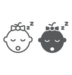 baby girl sleep line and glyph icon child vector image