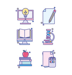 Back to school education learn icons set vector