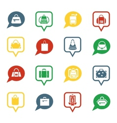 Bag icons in speech bubbles for app vector image