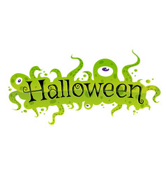 banner for halloween with green monsters vector image