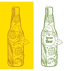 Beer bottle abstract ornament vector image