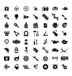 Black car parts icons vector