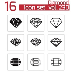 black diamond icons set vector image