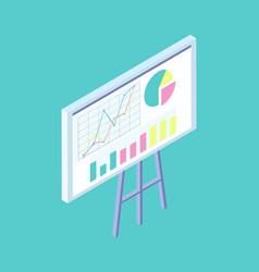 blackboard on tripod with diagrams cartoon banner vector image