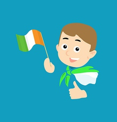 Boy with flag of Ireland vector