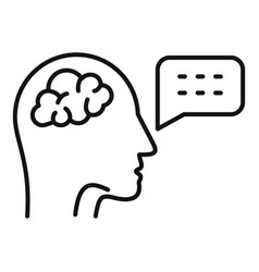 Brain speech therapist icon outline style vector