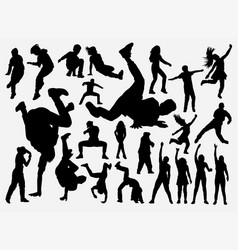 Breakdance and hiphop training silhouette vector