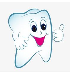Cartoon tooth with thumb vector