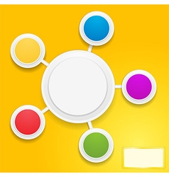 Circles infographic and tag over yellow vector image