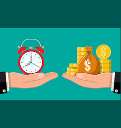 clock and golden coins in hands vector image