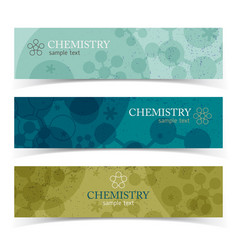 Colorful chemistry horizontal banners vector