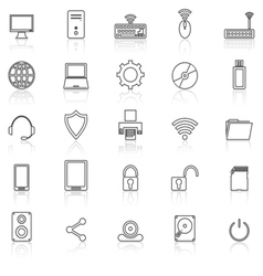 Computer line icons with reflect on white vector image