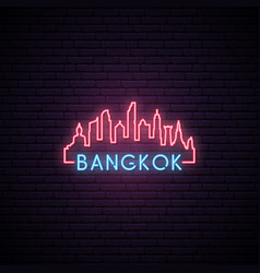 concept neon skyline of bangkok city vector image