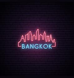 Concept neon skyline of bangkok city vector