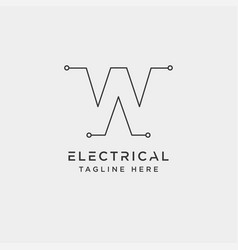 Connect or electrical w logo design icon element vector