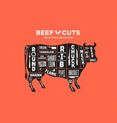 Cow beef scheme diagram chart pork butcher vector