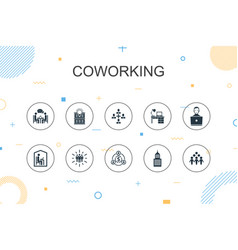 Coworking trendy infographic template thin line vector