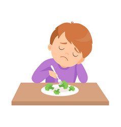Cute boy does not want to eat broccoli kid does vector