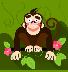 cute cartoon baby monkey hanging on tree vector image