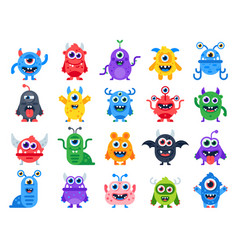 Cute cartoon monsters comic halloween joyful vector