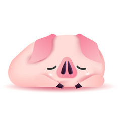 Cute pig character sleeping vector