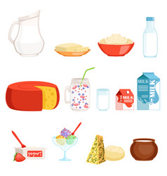 dairy products set milk butter cheese yogurt vector image