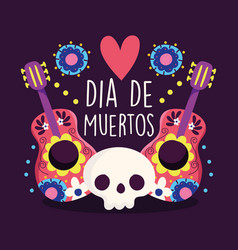 day dead skull and guitars music heart vector image