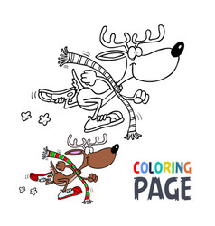 deer cartoon coloring page vector image