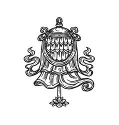 Dhavaja flag buddhism religion symbol sketch vector