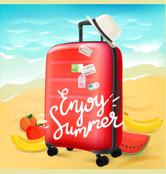 enjoy summer travel concept with calligraphic logo vector image