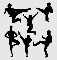 fight training silhouette vector image