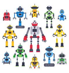 flat bots and robots robotic bot mascot humanoid vector image
