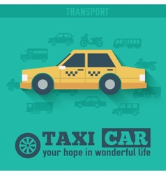 Flat taxi car background concept Tamplate for web vector