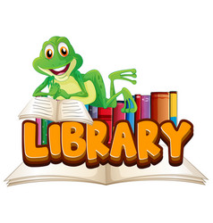 font design for word library with frog reading vector image