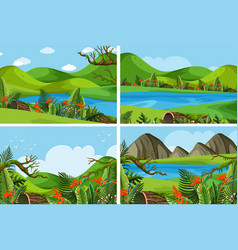 Four scenes with mountains and lake vector