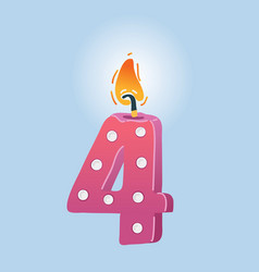 fourth birthday candle vector image