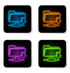 glowing neon ftp folder download icon on white vector image