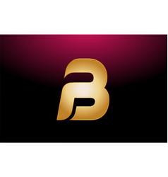 Gold golden metal alphabet letter b logo company vector