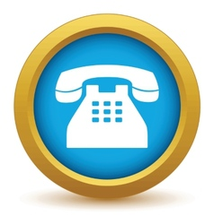 Gold Telephone icon vector image