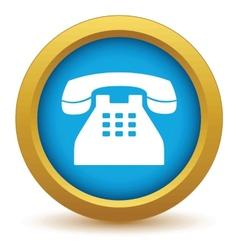 Gold Telephone icon vector