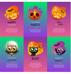 halloween greeting cards vibrant set vector image