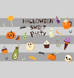 Halloween scary sweets party vector