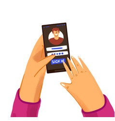 Hand with phone concept with user logging vector