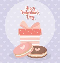 Happy valentines day striped gift box and sweet vector