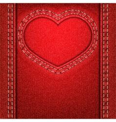 heart red denim vector image