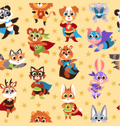 hero animals seamless pattern kids superhero vector image