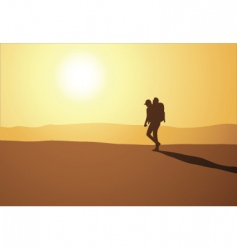 hike in desert vector image