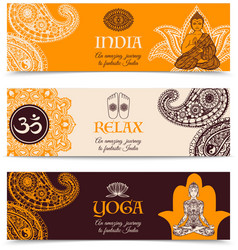 India culture 3 horizontal banners set vector