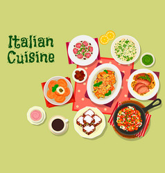 italian cuisine lunch menu icon for food design vector image